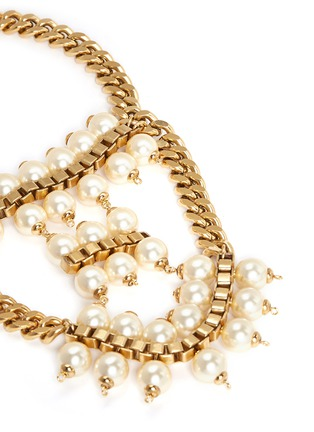 Detail View - Click To Enlarge - Ela Stone - 'Celia' box chain faux pearl tier necklace