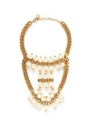 Main View - Click To Enlarge - Ela Stone - 'Celia' box chain faux pearl tier necklace