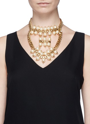 Figure View - Click To Enlarge - Ela Stone - 'Celia' box chain faux pearl tier necklace