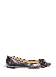 TORY BURCH 'Vanessa' rhinestone bow metallic cracked suede flats