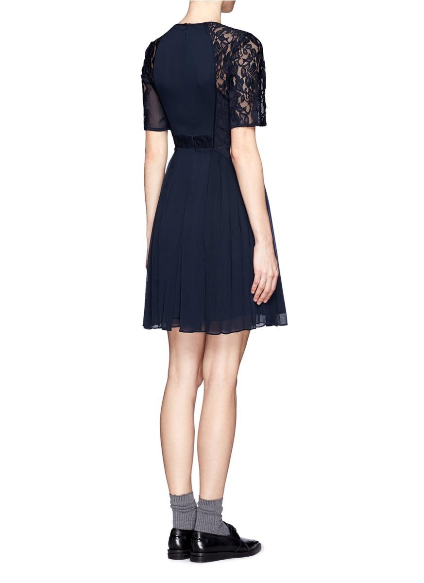 Whistles Linn Lace Sleeve Pleated Dress On Sale Blue