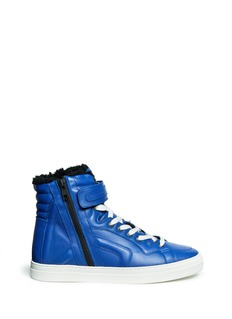 PIERRE HARDY Leather shearling high-top sneakers