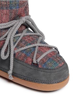 Detail View - Click To Enlarge - INUIKII - 'Scottish Low' tartan felt lambskin shearling boots