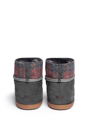 Back View - Click To Enlarge - INUIKII - 'Scottish Low' tartan felt lambskin shearling boots