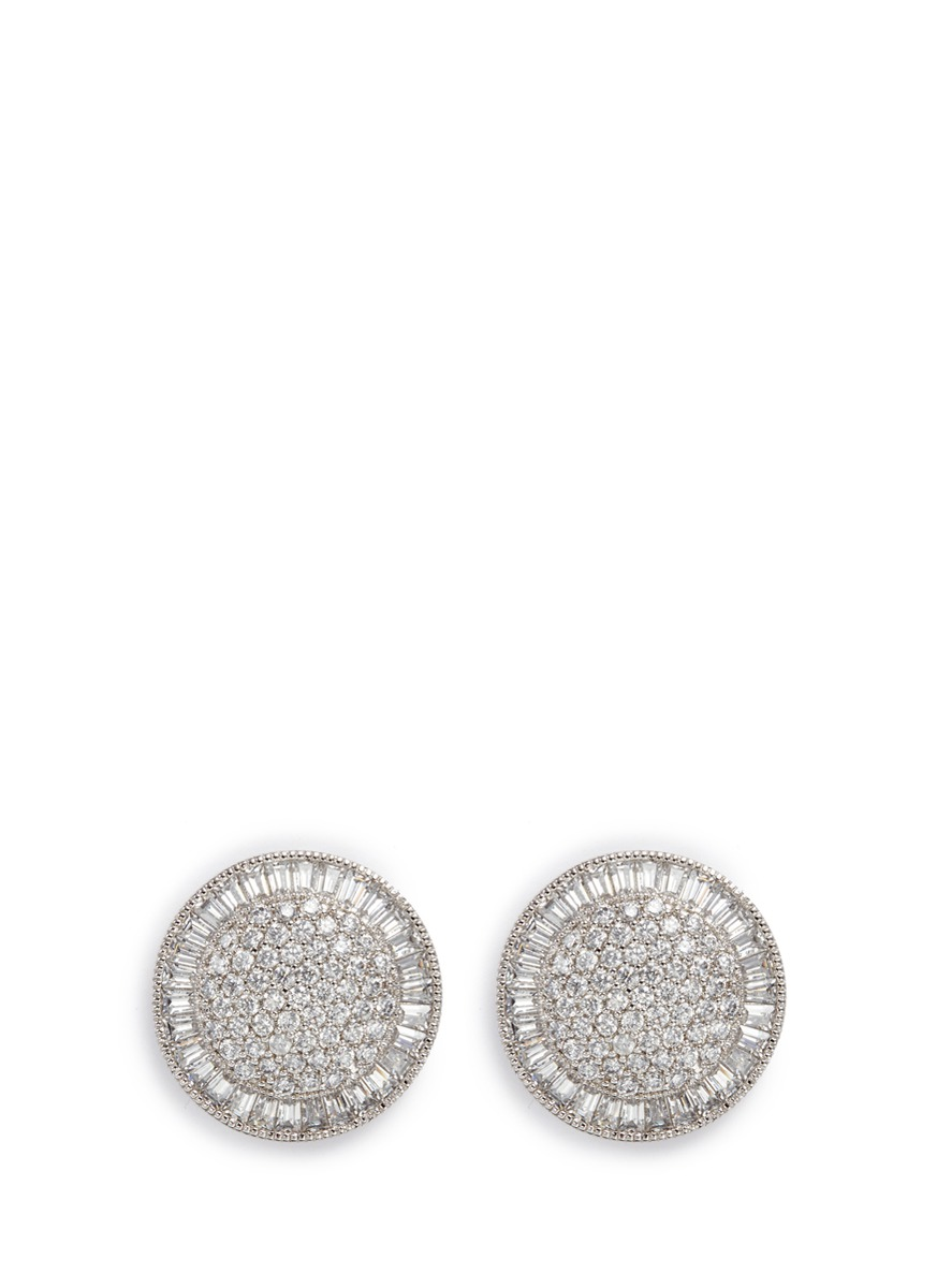 cz by kenneth jay lane female cubic zirconia pave disc stud earrings