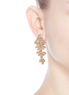 CZ by Kenneth Jay LaneCubic zirconia leaf cluster drop clip earrings
