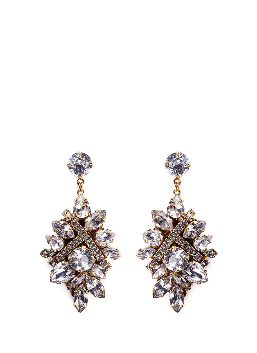 Parlor Trick Swarovski crystal cluster drop earrings by Erickson Beamon