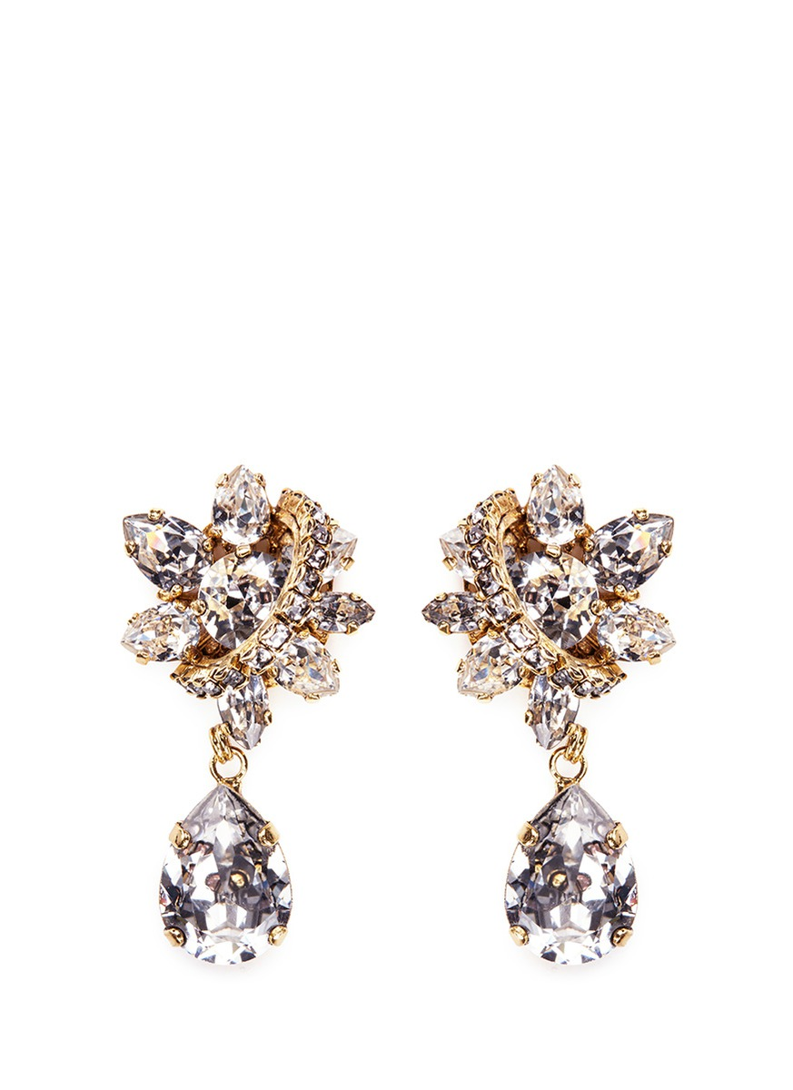 Parlor Trick Swarovski crystal pear drop earrings by Erickson Beamon