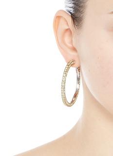 Kenneth Jay LaneGlass crystal rhodium plated hoop earrings
