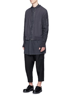 The Viridi-anne Dropped crotch cropped linen jogging pants