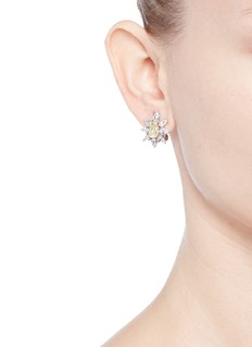 CZ by Kenneth Jay Lane Cubic zirconia floral clip earrings