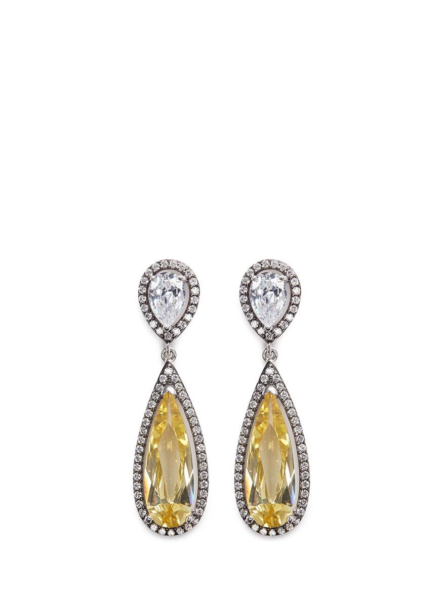 Cubic zirconia teardrop earrings by CZ by Kenneth Jay Lane