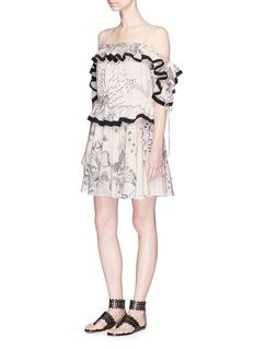 Valentino'Garden of Delight' cold shoulder ruffle silk dress