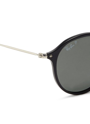 Detail View - Click To Enlarge - Ray-Ban - 'Round Fleck' matte temple acetate round polarised sunglasses