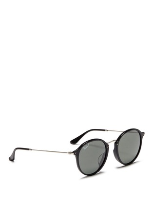Figure View - Click To Enlarge - Ray-Ban - 'Round Fleck' matte temple acetate round polarised sunglasses