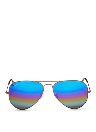 Main View - Click To Enlarge - Ray-Ban - 'Aviator Large Metal' glitter mirror sunglasses