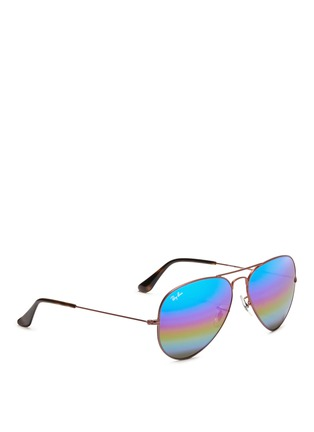 Figure View - Click To Enlarge - Ray-Ban - 'Aviator Large Metal' glitter mirror sunglasses