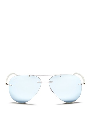 Main View - Click To Enlarge - Ray-Ban - 'RB8058 Light Ray' frameless aviator mirror sunglasses