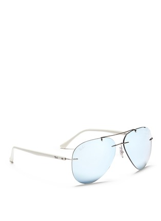 Figure View - Click To Enlarge - Ray-Ban - 'RB8058 Light Ray' frameless aviator mirror sunglasses