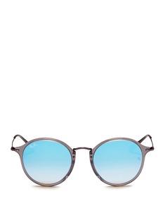 Ray-Ban'Round Fleck Flash' matte temple acetate mirror sunglasses