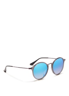 Ray-Ban 'Round Fleck Flash' matte temple acetate mirror sunglasses