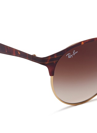 Detail View - Click To Enlarge - Ray-Ban - 'RB3545' tortoiseshell effect round browline sunglasses