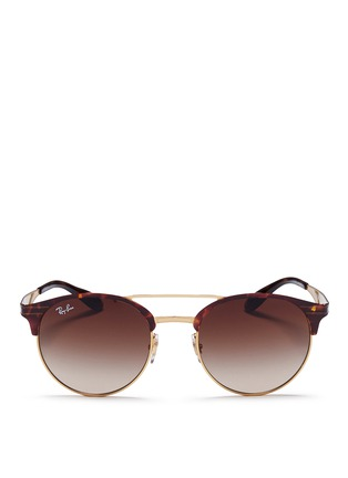 Main View - Click To Enlarge - Ray-Ban - 'RB3545' tortoiseshell effect round browline sunglasses
