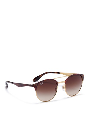 Figure View - Click To Enlarge - Ray-Ban - 'RB3545' tortoiseshell effect round browline sunglasses