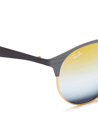 Detail View - Click To Enlarge - Ray-Ban - 'RB3545' coined flat round browline mirror sunglasses