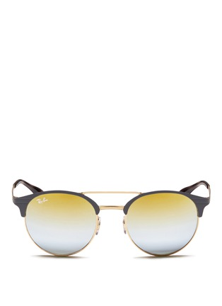 Main View - Click To Enlarge - Ray-Ban - 'RB3545' coined flat round browline mirror sunglasses