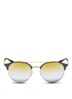 Ray-Ban'RB3545' coined flat round browline mirror sunglasses