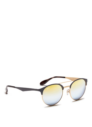 Figure View - Click To Enlarge - Ray-Ban - 'RB3545' coined flat round browline mirror sunglasses