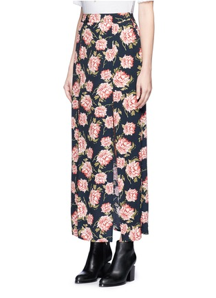 Front View - Click To Enlarge - Ivy Park - Rose print crepe double slit maxi skirt