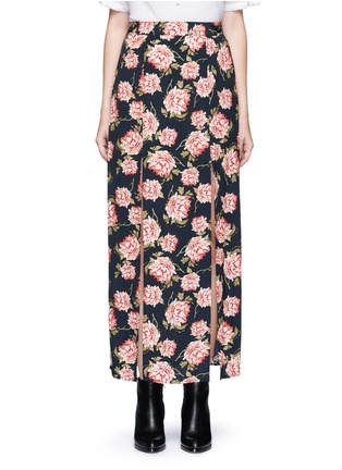 Main View - Click To Enlarge - Ivy Park - Rose print crepe double slit maxi skirt