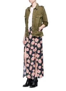 TopshopRose print crepe double slit maxi skirt