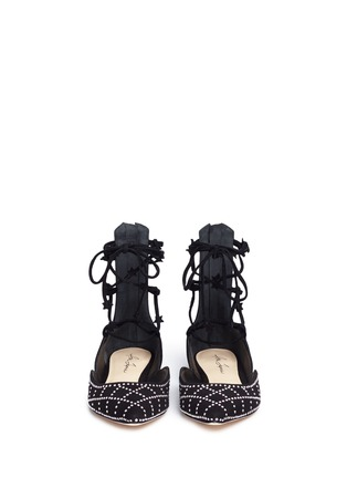 Front View - Click To Enlarge - Isa Tapia - 'Muxia' stud suede lace-up flats