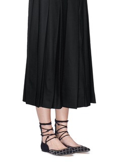 Isa TapiaMuxia' stud suede lace-up flats