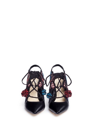 Front View - Click To Enlarge - Isa Tapia - 'Deia' pompom embroidered suede slingback booties
