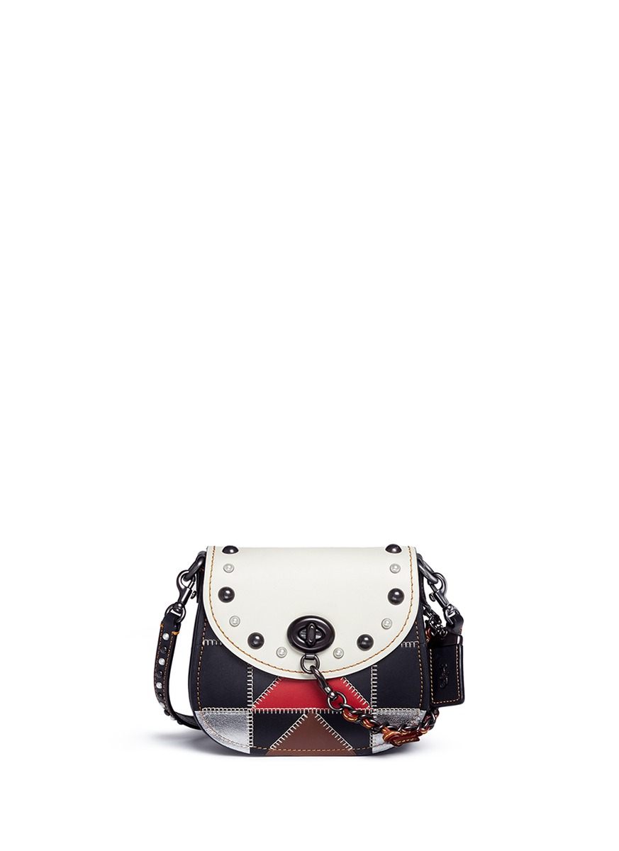 B-Boy Prairie patchwork leather saddle bag by Coach