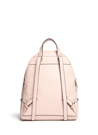 Back View - Click To Enlarge - Michael Kors - 'Rhea' small 18k gold-plated metal leather backpack