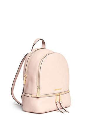 Front View - Click To Enlarge - Michael Kors - 'Rhea' small 18k gold-plated metal leather backpack