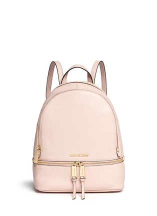 Main View - Click To Enlarge - Michael Kors - 'Rhea' small 18k gold-plated metal leather backpack