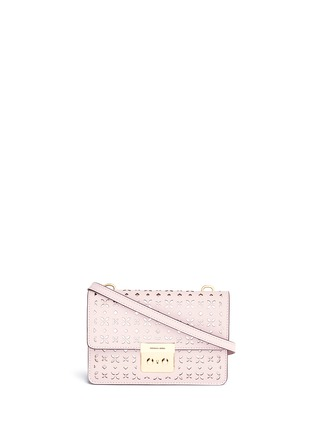 Main View - Click To Enlarge - Michael Kors - 'Sloan' small floral perforated leather crossbody