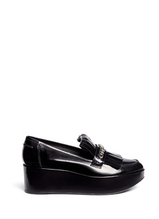 Stuart Weitzman 'BMOC' kiltie flap patent leather platform loafers