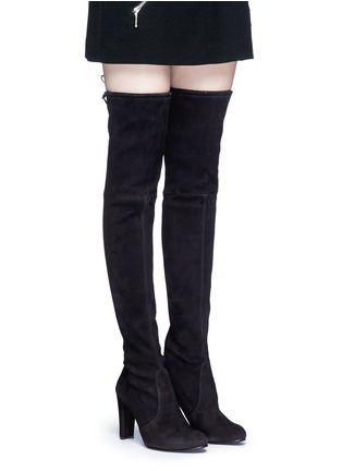 Figure View - Click To Enlarge - Stuart Weitzman - 'Highland' stretch suede thigh high boots