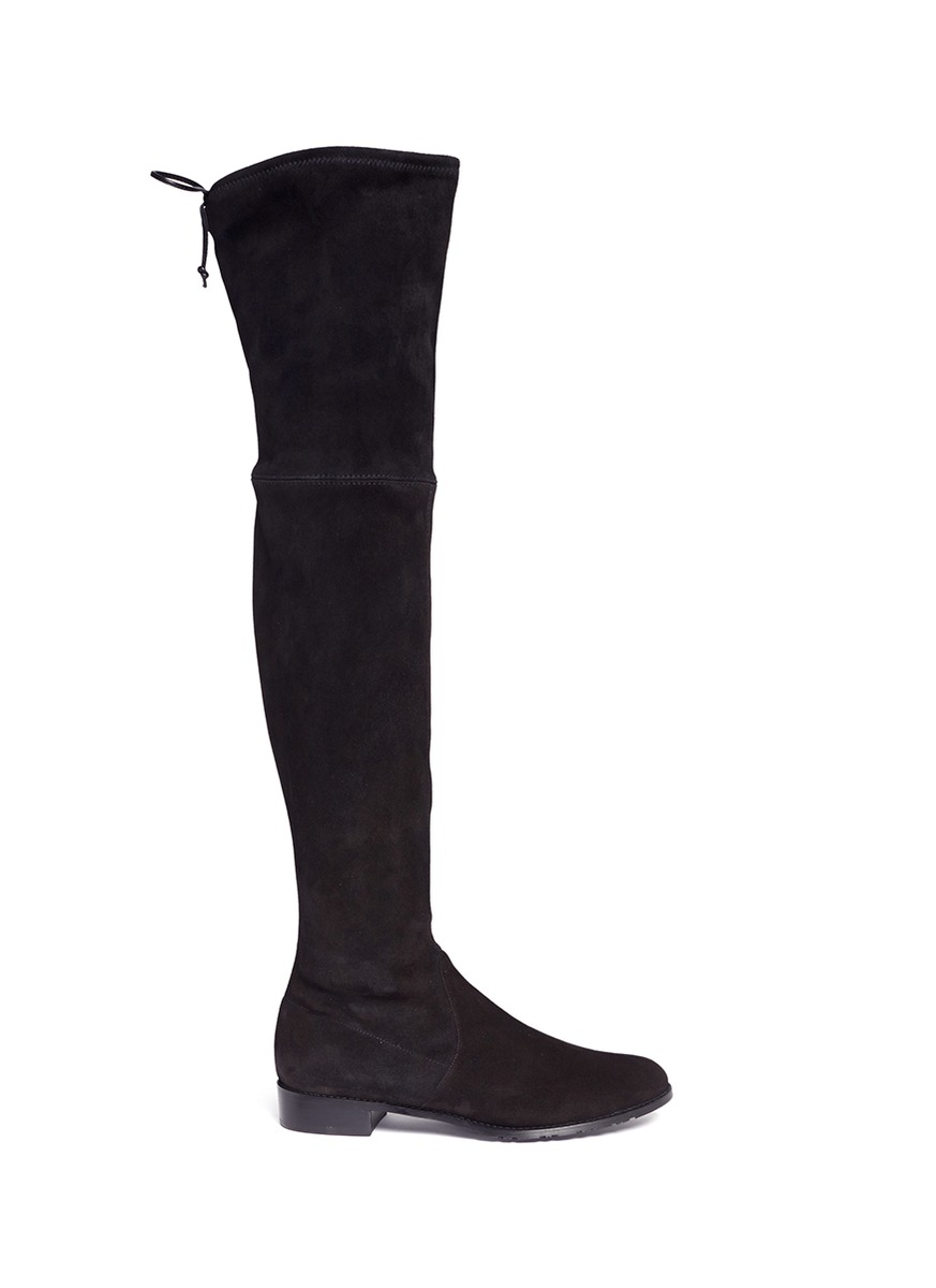 Lowland stretch suede thigh high boots by Stuart Weitzman