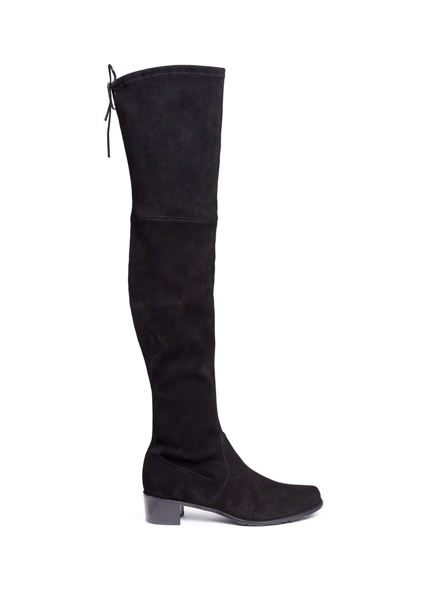 Midland stretch suede thigh high boots by Stuart Weitzman