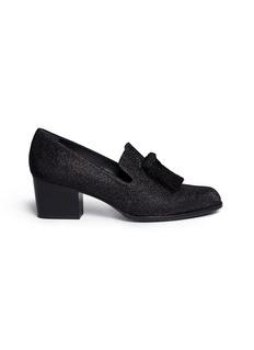 Stuart Weitzman'Razmataz' tassel glitter mesh loafers