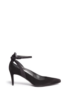 Stuart Weitzman'Take A Bow' contrast strap suede pumps