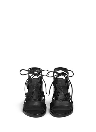 Front View - Click To Enlarge - Stuart Weitzman - 'The Girl Bingo' lace-up leather sandals